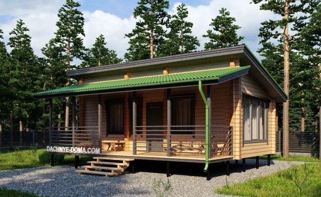 Фасад с оригинальным стилем с односкатной крышей