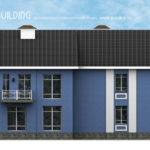 Фасад в синем оформлении