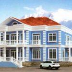 Красивый декор голубого фасада
