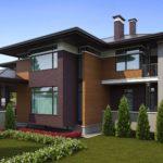 Красивый фасад с большими окнами