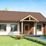 Красивый фасад с двухскатной крышей