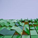 Небольшие зеленые панели для фасада дома