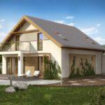 Оформление фасада с красивой двухскатной крышей