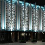 Оригинальные голубые панели для фасада