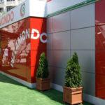 Пример оформления фасада красного цвета из панелей