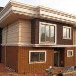 Пример оформления коричневого фасада