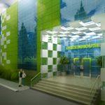 Пример оформления современного дома зелеными фасадными панелями