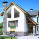 Пример оформления современного фасада с трехскатной крышей