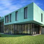 Приятный оттенок зеленых фасадов на основе панелей
