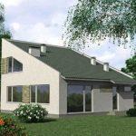 Проект фасада с современной односкатной крышей
