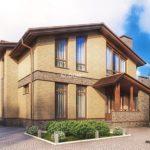 Шикарный дом с современным фасадом с двухскатной крышей