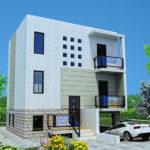 Современный дом с красивым фасадом с маленькими окнами