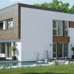 Современный вариант фасада квадратной формы