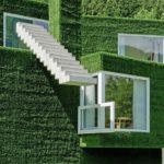 Текстурные зеленые панели для фасада