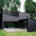 Вариант использования панелей черного цвета для фасада