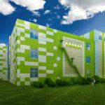 Яркие зеленые фасадные панели