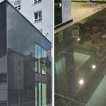 Гранитная плитка в черном цвете для обустройства фасада